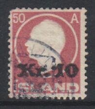 Iceland - 1925, 10k on 50a Claret stamp - F/U - SG 148