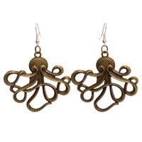 Vintage Steampunk Octopus Earrings Bronze Pirate Kraken Ear Hook Alloy