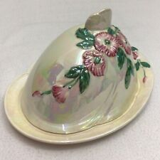 More details for maling butter dish and dome pearlescent pink flowers blossom lustre cheese