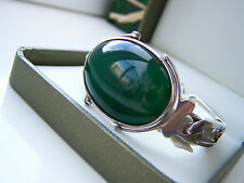 "VINTAGE STERLING SILVER BANGLE BRACELET HUGE LARGE GREEN CABOCHON STONE 7"" LONG"