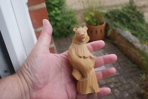 Vintage Wood Wooden Hand Carved Bear Figure Statue