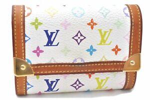 Louis Vuitton Monogram Multicolor Porte Monnaie Plat Coin Case White LV A7354