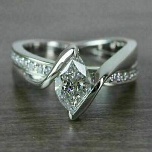 Swirl Bypass Engagement & Wedding Ring 14K White Gold 2.31 Ct Marquise Diamond