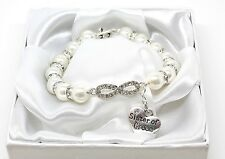 Handmade Personalised Infinity Wedding Charm Bracelet With Gift Box Free Postage