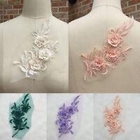 3D Embroidery Flower Lace Bridal Applique DIY Wedding Dress Decor