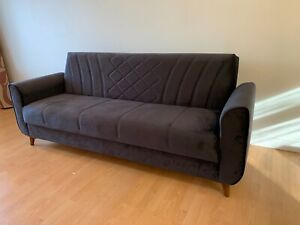 Velvet Sofa Bed 3 Seater Recliner Couch with Two Cushions  Free UK Delivery