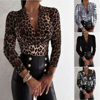 Women Sexy Leopard Long Sleeve T Shirt V Neck Casual Tops Loose Blouse Tunic