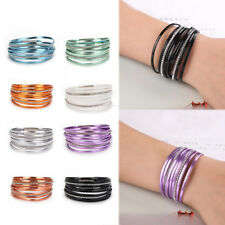 Women Multilayer Leather Rhinestone Magnet Wrap Cuff Charm Bracelet Gift Jewelry
