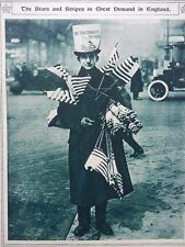 1917 LONDON AMERICAN FLAG SELLER USA ENTERS THE WAR STARS AND STRIPES WWI WW1