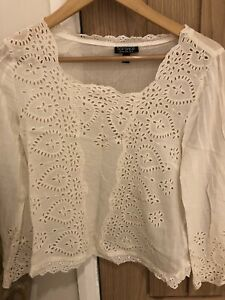 Topshop Broderie Anglaise Blouse Size 12