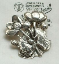 VINTAGE JEWELLERY SUPER LILY PAD FLOWER DRAGONFLY MASJ SILVER BROOCH/PIN