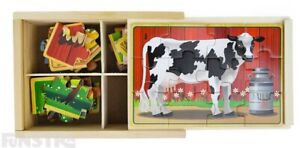 Farm Animal Puzzles | Melissa 4-in-1 Farm Jigsaw Puzzle | Pig Cow Horse Chicken