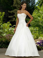 Hot New White Ivory Satin Wedding Dress Bridal Gown Size:6 8 10 12 14 16 18
