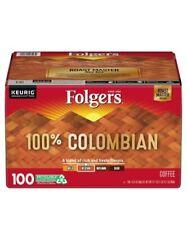 Folgers 100% Columbian Medium  Roast Coffee 100 ct K-Cup Keurig FREE SHIPPING