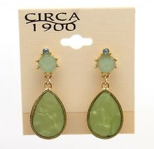 CIRCA 1900 JEWELRY Goldtone Tear Drop with Multi Color Crystal Dangle Earrings
