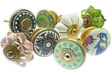 Door Knobs Vintage Style Ceramic and Glass Cupboard Kitchen Handle Pull Set of 8