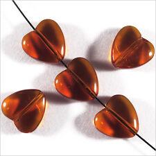 Lot de 10 Perles Tchèques Cœur en verre 10mm Topaze Marron