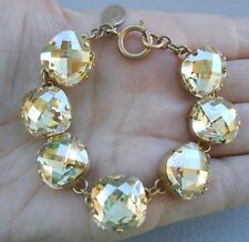 "CATHERINE POPESCO 18mm Faceted Champagne Swarovski Crystal Gold Bracelet 7.5"""