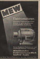 SAALFELD, Werbung / Anzeige, Mitteldeutsches Elektromotoren-Werk Generatoren