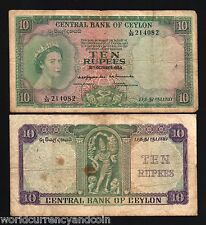 CEYLON 10 RUPEES P55 1954 QUEEN STAND FIGURE SRI LANKA RARE CURRENCY MONEY NOTE