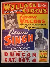 WALLACE BROS. 3 Ring Circus Poster  1952 in Duncan, Oklahoma