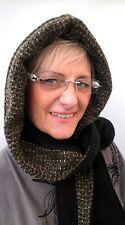 Damen Mütze Schalmütze Kapuzenschal schwarz grün Wintermütze Handarbeit