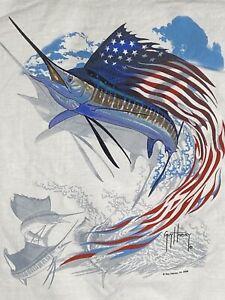 Guy Harvey AFTCO Vintage '05 Jumping Sailfish USA Mens T-shirt  Short Sleeve Med