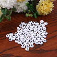 500Pcs White Mixed Letter/ Alphabet Flat Round Acrylic Cube Beads DIY Craft 6mm