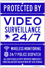 "Protected By Video Surveillance CCTV Warning Security 8""x12"" Aluminum Wireless"