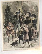 Bringing dans l'arbre de Noël; vintage illustration-Enfants, Chien, famille