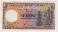 Egypt 10 Pounds 1947 Banknote P23c Leith Ross aXF XF Rare Key Currency Note