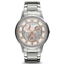 EMPORIO ARMANI SILVER STAINLESS STEEL+ROSE GOLD AUTOMATIC MECCANICO WATCH-AR4668