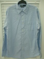 Polo Ralph Lauren Blue Striped Custom Fit Shirt Long Sleeve Mens size L