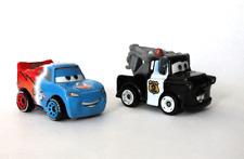 Disney Pixar Cars Mini Racers Transforming Lightning McQueen Cop Mater Box #1 #3