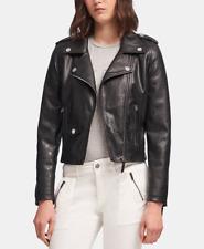 DKNY Womens Faux-Leather Moto Jacket (Black, Large)