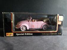 Maisto 1951 Volkswagen Beetle Cabriolet  Pink 1:18 Scale Die Cast VW Bug Car