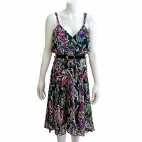 Diane Von Furstenberg Silk Green Pink Floral Dress 8 10 12 Strappy Sleeveless S