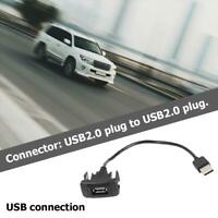 Car Dashboard Flush Mount USB Port Panel Extension Wire Adapter for Hilux Black