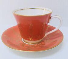Rare Aynsley Orange w/Gold Orchid Pattern Teacup Saucer Bone China England