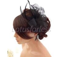 Beautiful Black Net Bow & Feather Hair Comb Slide Fascinator Hatinator Races