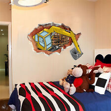3D Excavator Home Bedroom Decor Removable Wall Sticker Decal Decorations