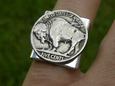 Ring Buffalo Nickel coin adjustable 6 to 11 silver plated nice gift