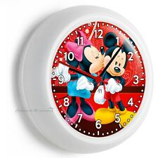 MICKEY AND MINNIE MOUSE KISSING IN LOVE WALL CLOCK BABY GIRLS BOYS NURSERY DECOR