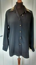 Beautiful Womens Ladies Black Sequined Gold Bead Party Blouse Top Size 12-14 NEW
