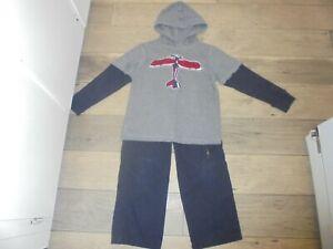 Gymboree Ace Pilot airplane shirt with matching pants boys 7