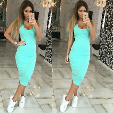 Women Summer Basic Sundress Bodycon Knee Length Maxi Wrap Dress Long Vest Tops