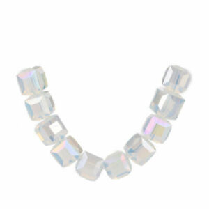 Crystal Beads Making Cube Square 10Pcs Faceted Glass 10mm Spacer Jewelry Charms