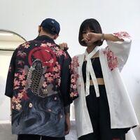 Unisex Japanese Kimono Coat Harajuku Vintage Loose Yukata Outwear Retro Haori