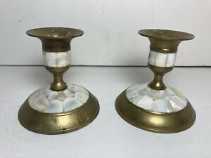 """Set Of 2 Brass Mother of Pearl Inlay Candle Holders 3"""""""