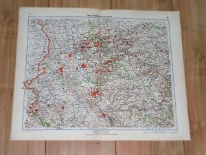 1943 ORIGINAL VINTAGE WWII MAP OF RUHRGEBIET ESSEN DORTMUND KÖLN GERMANY
